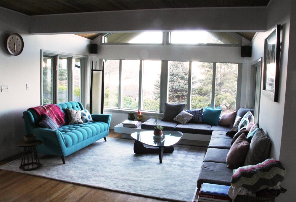 Erin's midcentury modern inspired living room