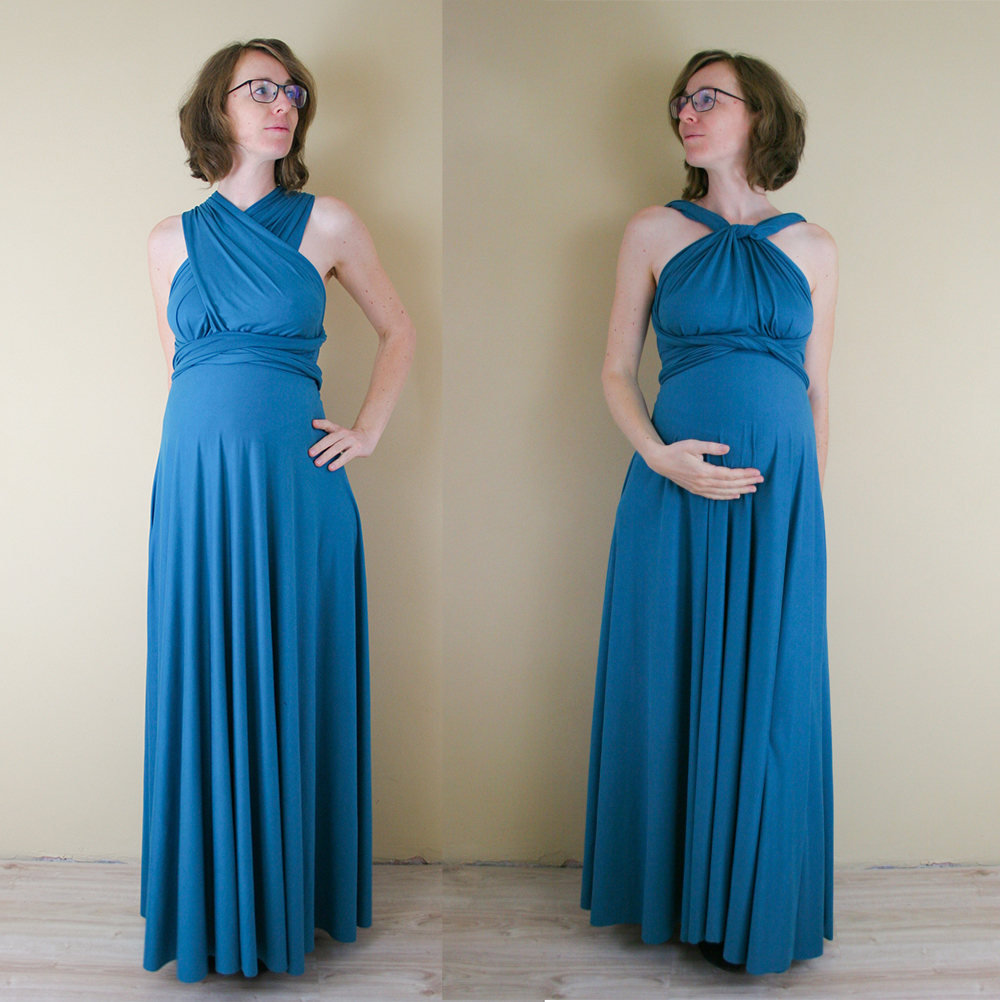 Maternity Sewing - Knit Infinity Dress pattern on pregnant Lisa
