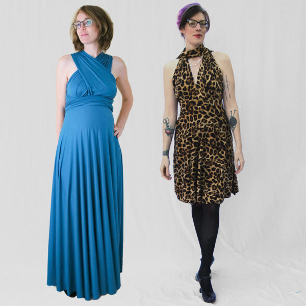 Erin & Lisa of Maternity Sewing in their Knit Infinity Dresses