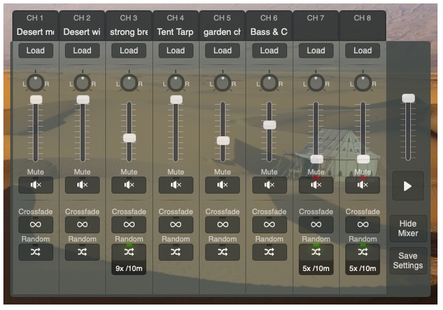 Ambient Mixer sample mixer controls
